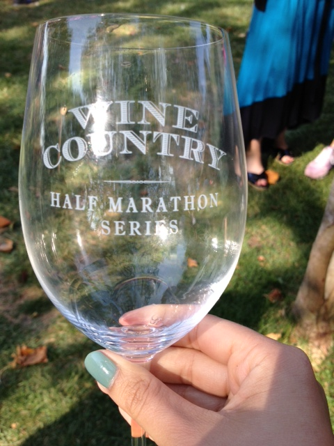 The wine glass each race participant received after completing the race.