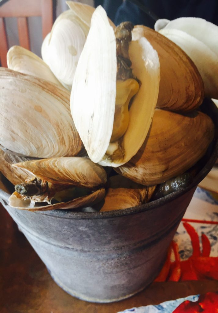 Her big pail of steamers!